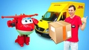 Машинка Брудер МЕРСЕДЕС! Доставка грузов игрушкам из мультиков.Игры для детей