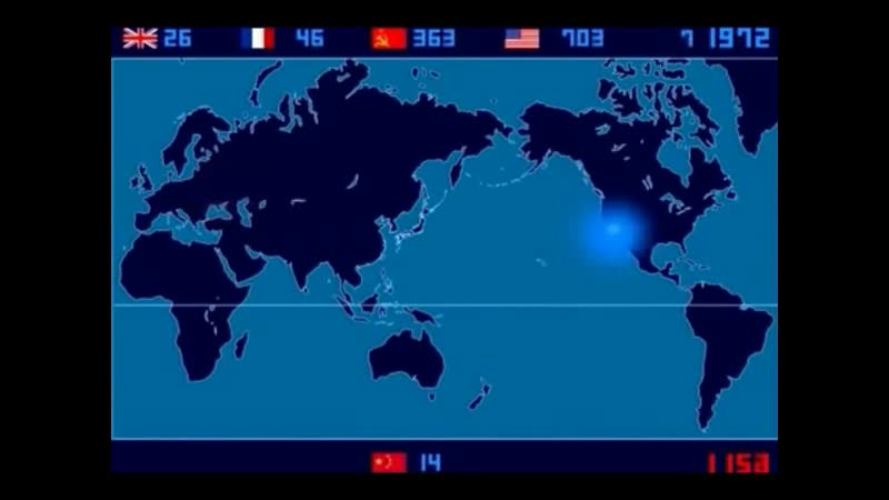 A Time Lapse Map of Every Nuclear Explosion Since 1945 3 Times Faster