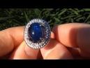 Estate Auction Blue Cabochon Sapphire Diamond Cocktail Ring 14kt Gold