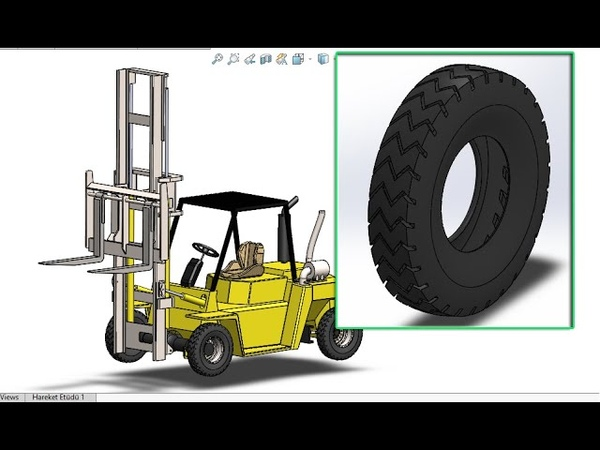 Solidworks Tutorial - Forklift Part 07 How to Make Tyre