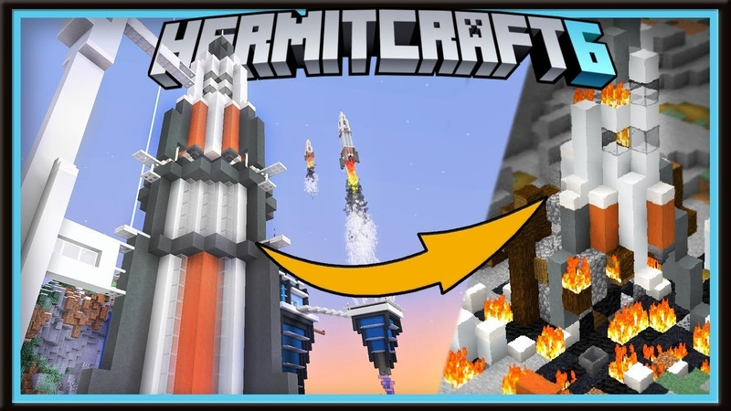 Hermitcraft 6 Mega Rocket Crashes Into The 1 14 Village