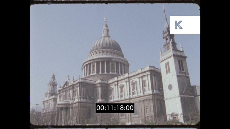The Strand, St Pauls Cathedral, 1990s London from 16mm