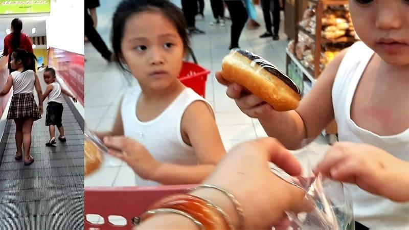 Gia Linh dẫn em Cò đi chơi, mua sắm và ăn bánh mì bánh donut