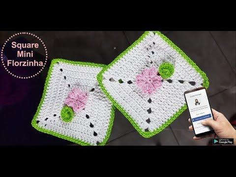 Projeto Almofada Delicatéssen: Square Mini Florzinha - Destras - Prof. Ivy (Crochê Tricô)