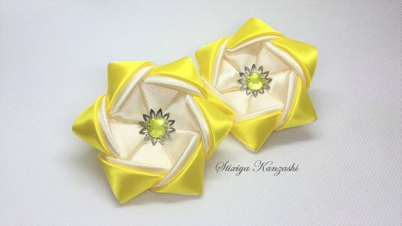 Украшение на резинку Канзаши Бантики-звёздочки