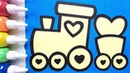 Train coloring drawing studying English for kids ㅣ 기차 그리기 색칠하기 영어 공부