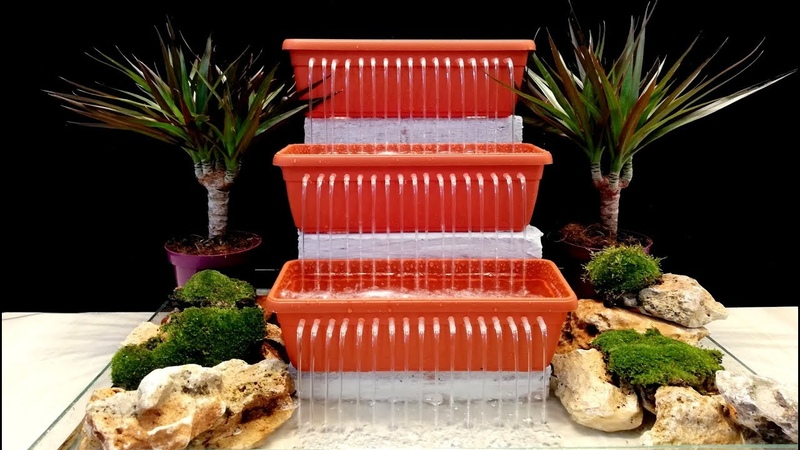 How to make Triple Waterfall Fountain using drinking straws very easy / DIY