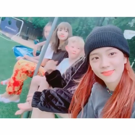 "Ella G. 🦋 on Instagram ""the other day 💛 @sooyaaa__ @roses_are_rosie @lalalalisa_m  Missing 제니언니 but Ella is so excited to cheer all of them on ton..."