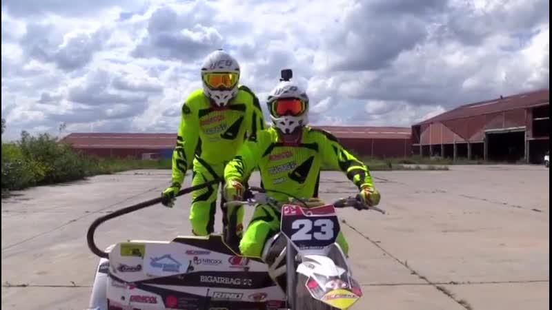 Sidecarteam Van Daele Бэкфлип на мотоцикле с коляской