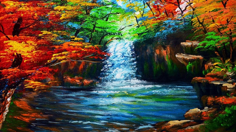 Basic Water Falls in Autumn Forest easy Acrylic Painting Tutorial | ART LESSON FOR BEGINNERS
