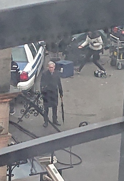 Роберт Паттинсон и Колин Фаррелл на съемках «Бэтмена».
