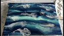 THE SEA Resin Art with Pigments, Pebeo Paint and Alcohol Ink on Wood Panel