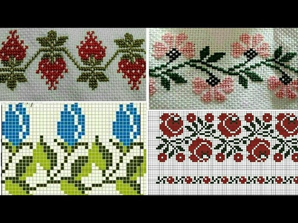 Easy Simple DosutiCross Stitch Border Design    New Tablecloth design