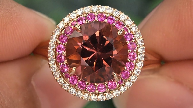 AIG Certified 3.68 tcw Orangy Pink Tourmaline Fancy Sapphire and Diamond 18k Rose Gold Halo Ring