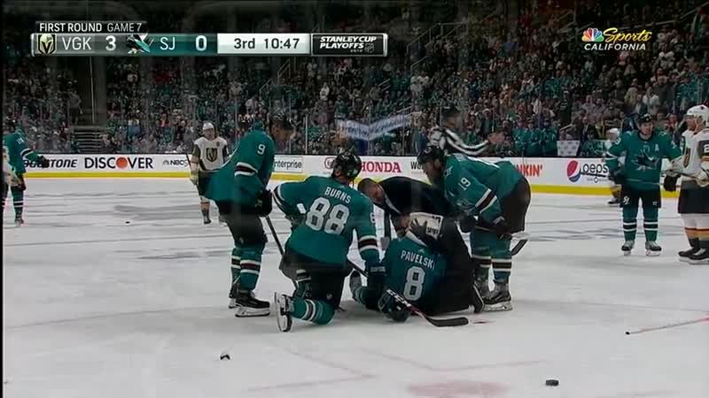 Sharks' Joe Pavelski Bloodied As Head Hits Ice After Cody Eakin Wipes Him Out.mp4