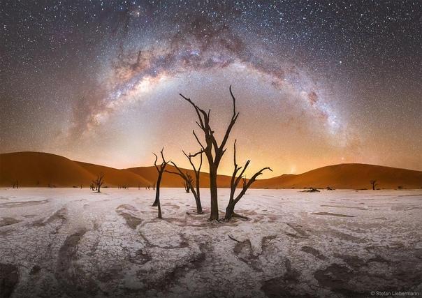 Млечный Путь над «мертвым болотом» Дедвлей в Намибии