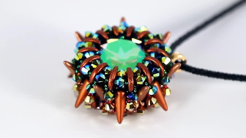 Двухсторонний кулон с двумя кристаллами 27 мм 💚🧡💚😍 Для тех, кто любит много блеска!😉💖