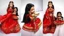 Indian Barbie MOM and DAUGHTER matching LEHENGA outfits with jewelry | Make DIY doll dress easy