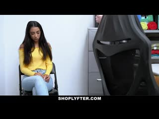 Shoplyfter pretty girl caught shoplifting pays with her pussy