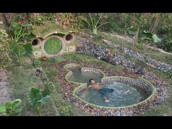 Building A Beautiful Swimming Pool Secret House Underground Using Bamboo