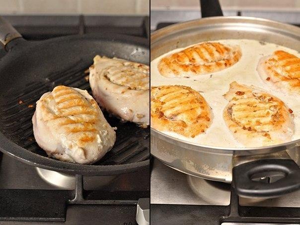 Куриные грудки фаршированные гречкой и шампиньонами, тушенные в сливочно-грибном соусе. Вкусное блюдо на ужин!