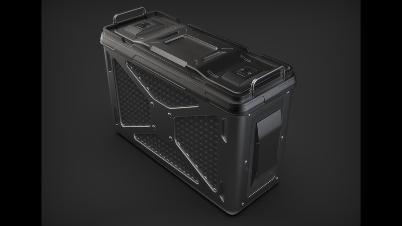 Hard surface Sci-fi Crate Cinema 4D modeling
