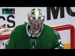 Anton khudobin absolutely robs stecher with spectacular glove save in overtime