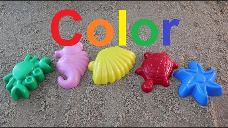 Learn Colors for Children colored sand molds marine inhabitantsучим