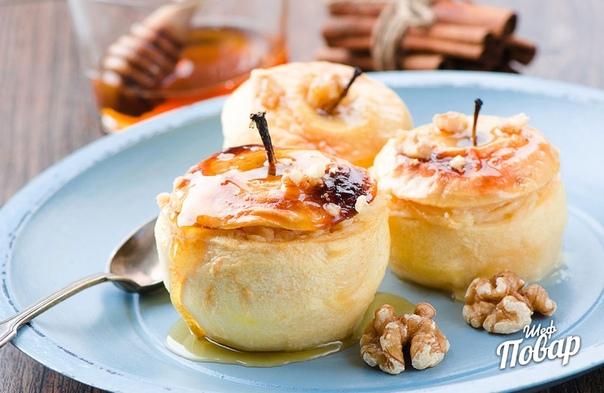 Яблоки с творогом и изюмом в духовке