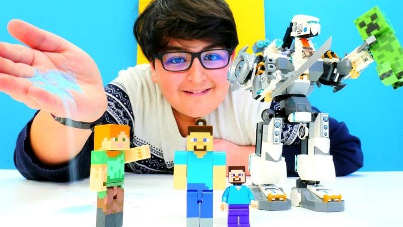 Minecraft Crepeer Steve'yi küçültüyor. Minik Steve robota biniyor
