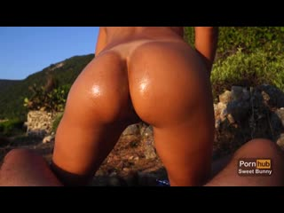 Sweet bunny anal sex at sunset on a public beach amateur sweet bunny