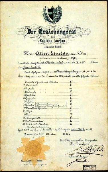 Аттестат Альберта Эйнштейна, который он получил в возрасте 17 лет.