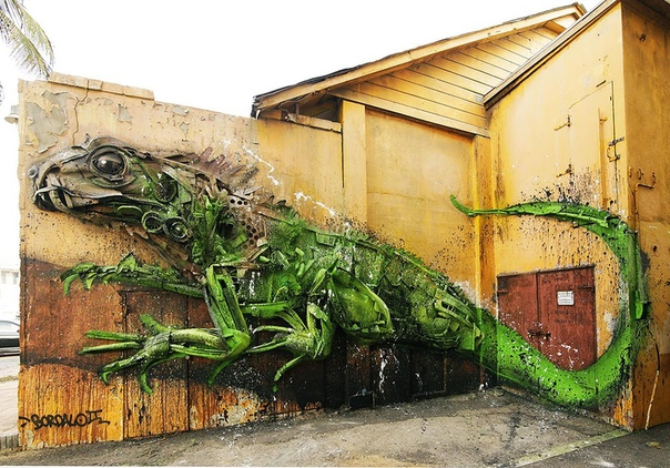 Потрясающие граффити-коллажи из мусора Португальский художник Артур Бордало (Artur Bordalo) украшает улицы родного Лиссабона инсталляциями из городского хлама. Таким образом Артур призывает
