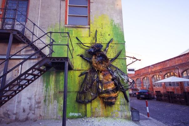 Потрясающие граффити-коллажи из мусора