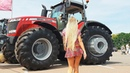 Pretty Girl Tractor Driver Massey Ferguson Deutz Fahr Harvester Agriculture Machines Exhibition 2019
