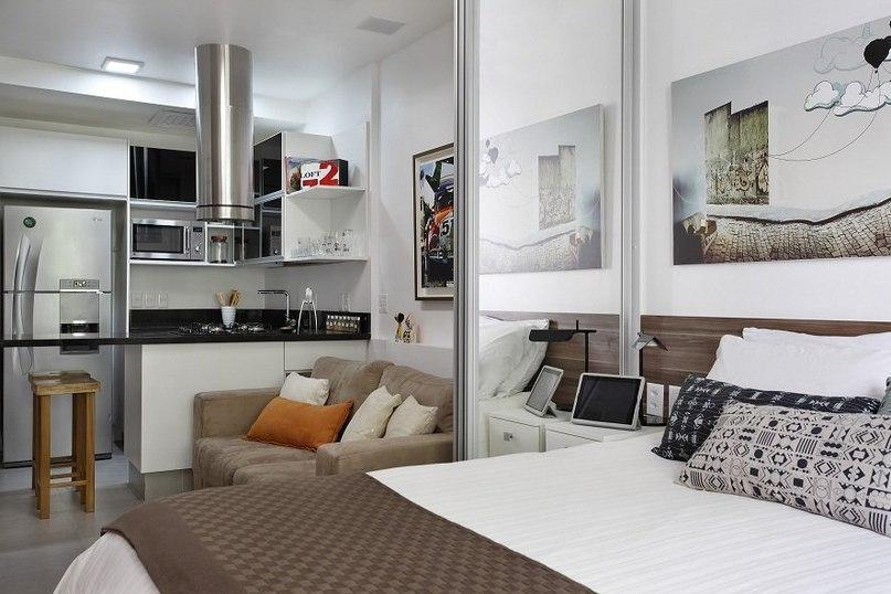 Интересный интерьер для вытянутой квартиры, 27 кв.