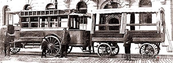 ИСТОРИЯ АВТОБУСНЫХ ПРИЦЕПОВ Прицепы для перевозки людей с моторизованными тягачами появились практически одновременно с первыми паровозами в середине XIX века. В 1850 году компания Ransomes по