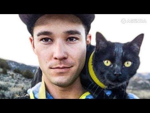 Кот Саймон путешествет со своим хозяином повсюду