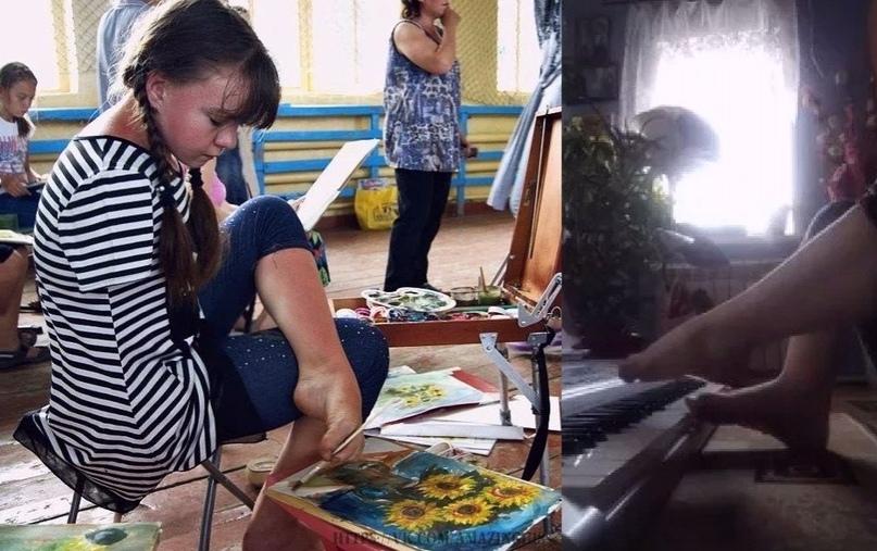 Не смотря на свою инвалидность, девушка рисует картины на заказ.