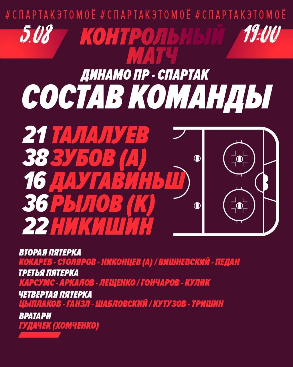 «Спартак» разгромил «Динамо» из Пардубице на Mountfield Cup (Видео)