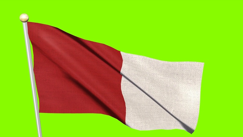 Free Video Footages - White Red Flag Waving , Red White Flag animation Motion Graphic