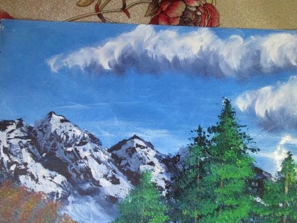 А-ЛЯ Боб Росс Пейзаж ,горы,кусты,река,отражение,деревья(подробно)