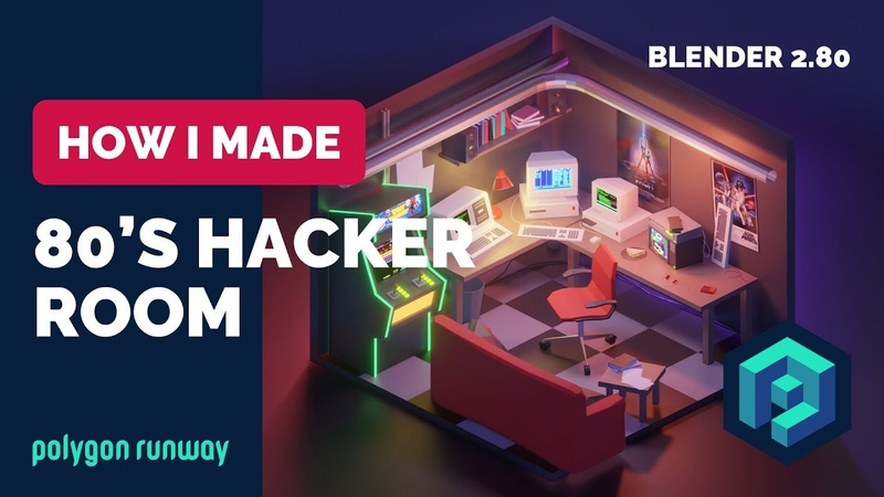 80's Hacker Room in Blender 2.8 - Low Poly 3D Modeling Timelapse Tutorial