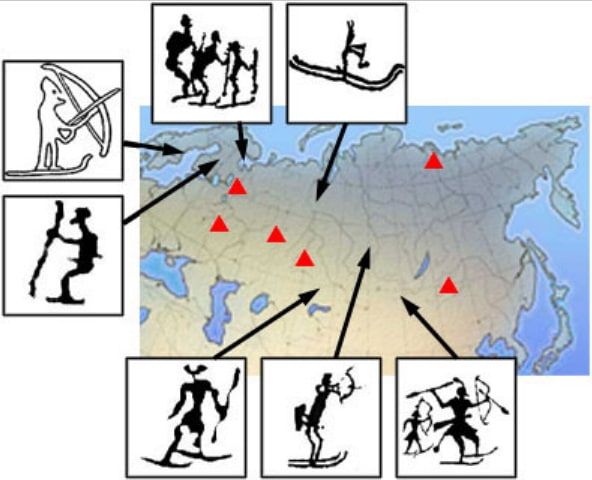 ИЗ ИСТОРИИ ГОРНЫХ ЛЫЖ. Часть 1. СКАНДИНАВСКИЙ ЭПОС Первое изображение лыжников датировано 2600 годом до н.э. В Арктике, в местах отступления ледников, были обнаружены наскальные рисунки,
