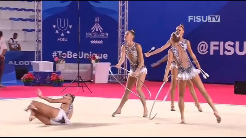 Сборная России 3 обруча и 2 пары булав финал Летняя Универсиада Неаполь