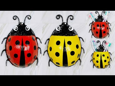 Ladybug toothbrush holder Easy making || Best out of waste