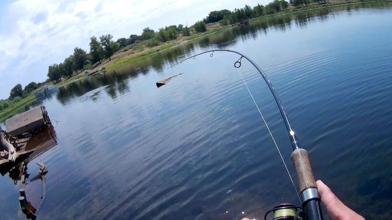 Мощная поклевка жереха на падении/Рыбалка на воблеры и джиг в одном из затонов р. Волга