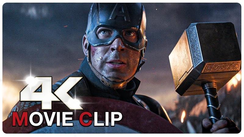 Captain America Lifts Thor's Hammer Mjolnir Scene AVENGERS 4 ENDGAME 2019 Movie CLIP 4K