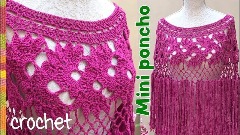 Mini poncho floreado tejido a crochet para adultas S M L 🌸 Tejiendo Perú