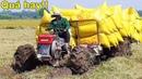 Kỹ năng tài xế lái xe cải tiến 2 cầu kéo lúa chẻ theo đường lầy cũ để tránh hư thêm ruộng